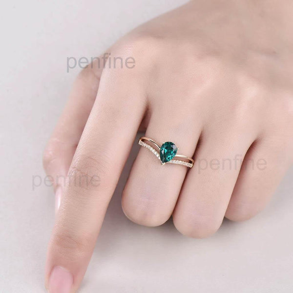 Split Shank Emi Emerald Diamond Engagement Ring Personalized - PENFINE