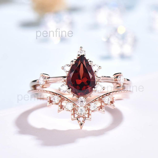 vintage garnet wedding set