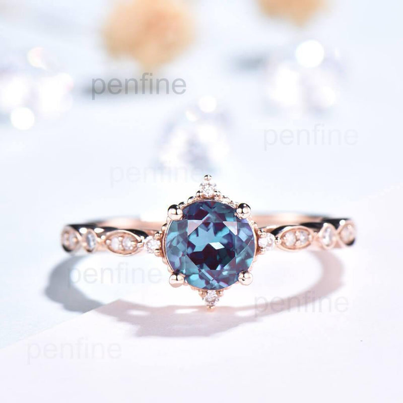 rose gold alexandrite engagement ring