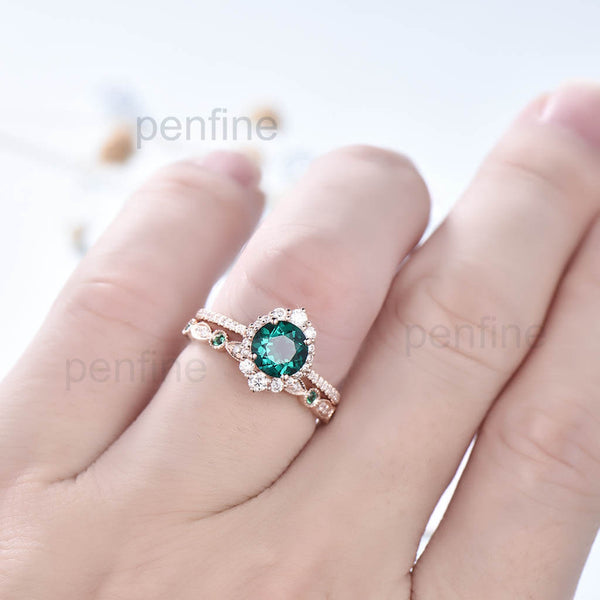 Vintage Emerald Reina Diamond Halo Engagement Ring Bridal Set Unique 2pcs - PENFINE
