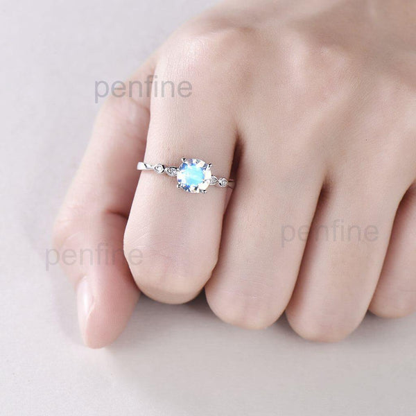 Round Cut Moonstone Ring hand