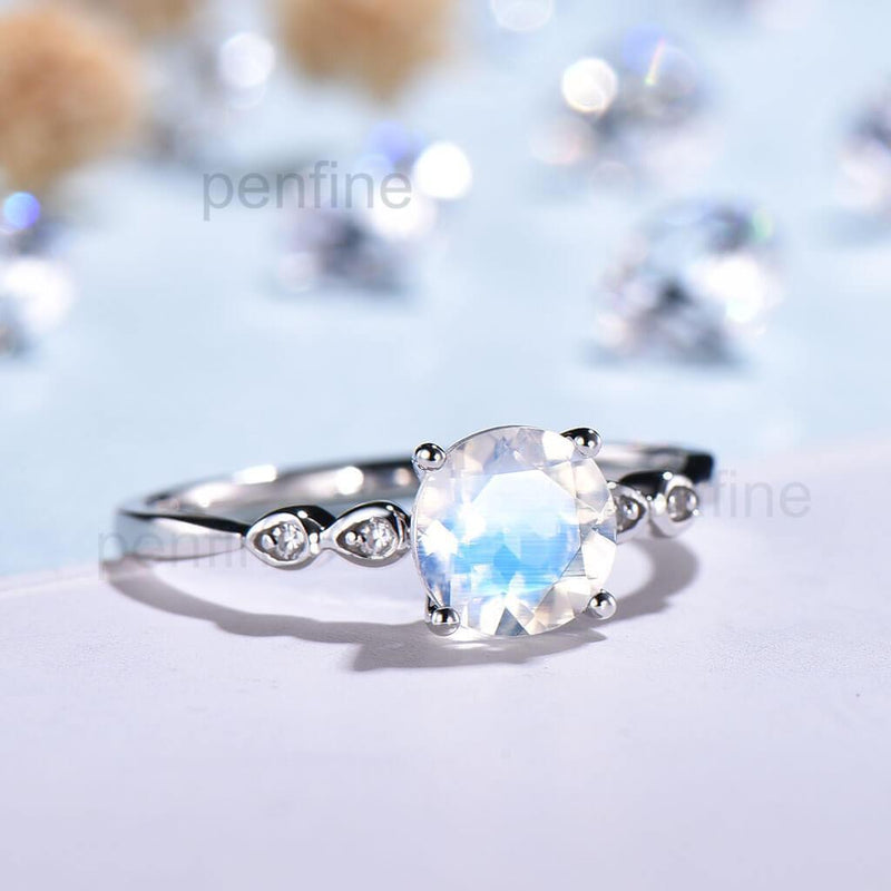 Round Cut Moonstone Ring