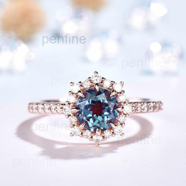 UniqueAlexandrite Engagement Ring Moissanite Halo Rose Gold - PENFINE