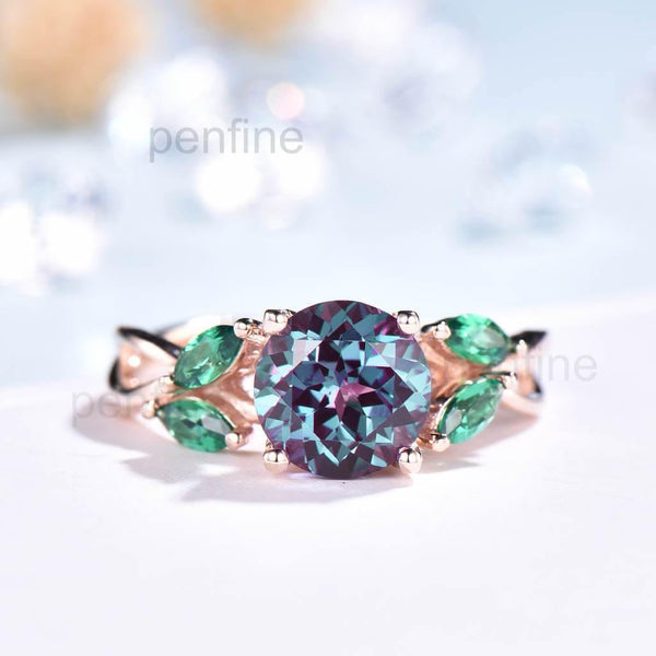 alexandrite leaf engagement ring