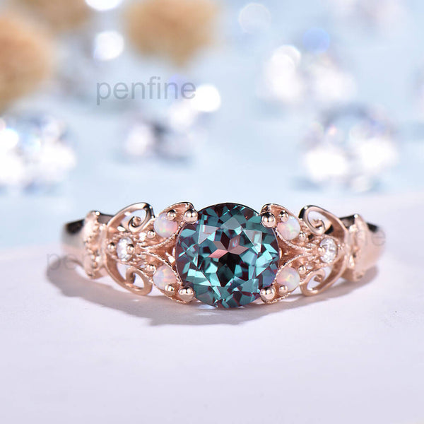 Unique Vintage Alexandrite Opal Diamond Engagement Ring - PENFINE