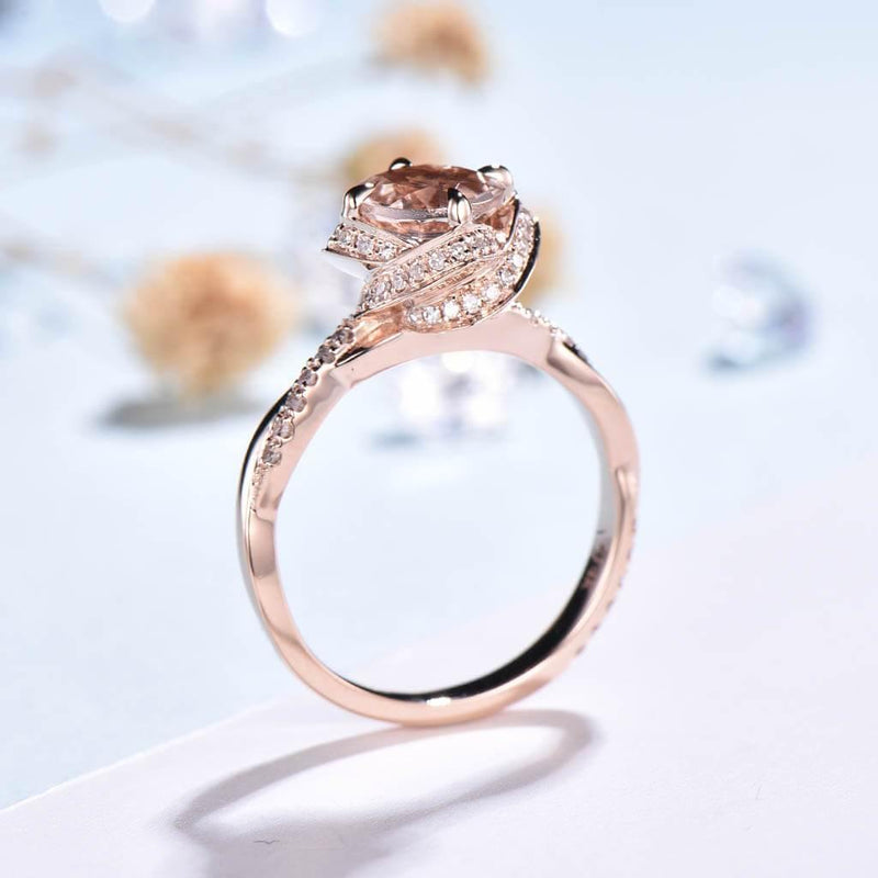 pink morganite engagement ring back