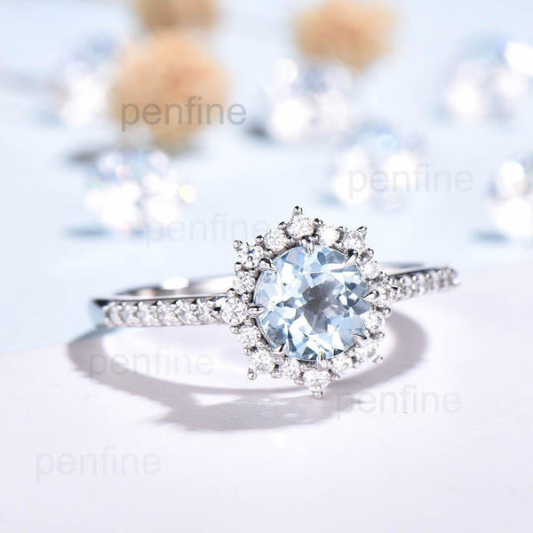 Unique Aauamarine Engagement Ring Reina Moissanite Halo White Gold - PENFINE