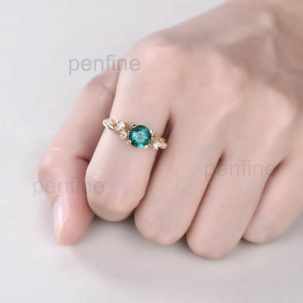 Vintage Lab Round Emerald Diamond Engagement Ring Unique - PENFINE