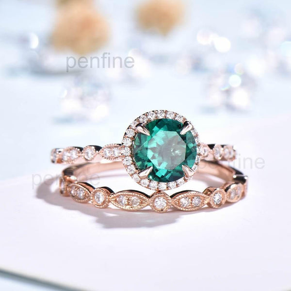 Round Emerald Waverly Diamond Halo Engagement Ring Bridal Set 2pcs - PENFINE