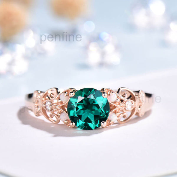 Unique Vintage Emerald Opal Diamond Engagement Ring - PENFINE