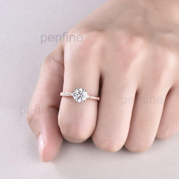 1 Carat Moissanite Engagement Ring Three Stone Channel Set - PENFINE