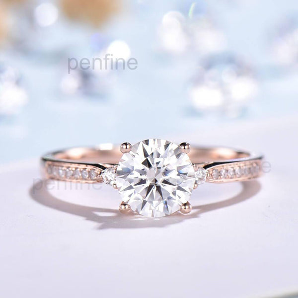 1 Carat Moissanite Engagement Ring  Channel Set