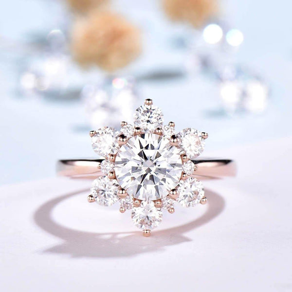 Floral Moissanite Engagement Ring Vintage Rose Gold - PENFINE