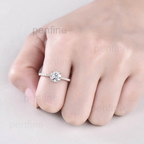 1 Carat  Moissanite Diamond Engagement Ring