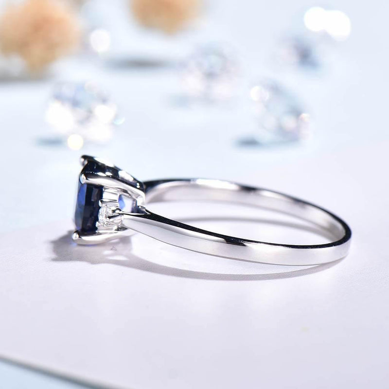 Three Stone Solitaire Sapphire Engagement Ring White Gold - PENFINE