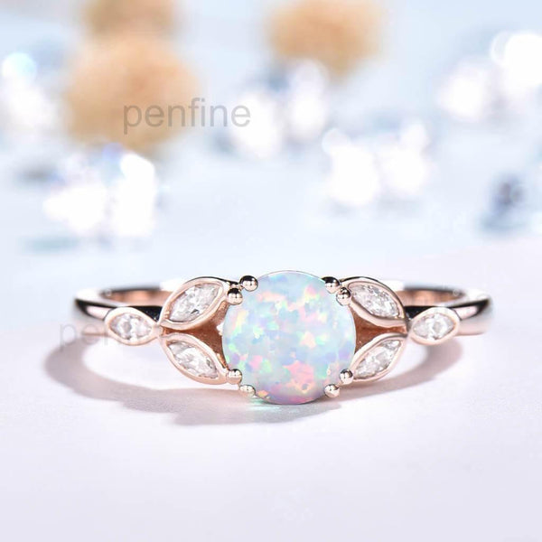 Leaf Opal Engagement Ring