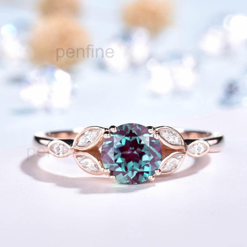 Leaf Alexandrite Engagement Ring