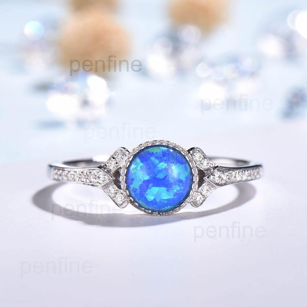 Vintage Natural Blue Black Opal Engagement Ring Split Shank - PENFINE