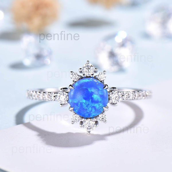 Vintage Crown Blue Black Opal Engagement Ring Art Deco - PENFINE