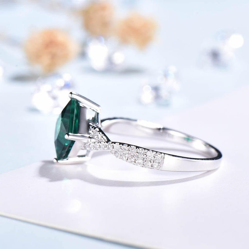 Princess Cut Emerald Engagement Ring side