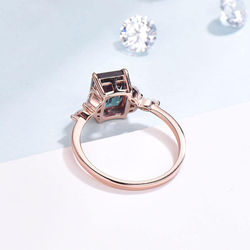 Emerald cut Alexandrite engagement ring rose gold back