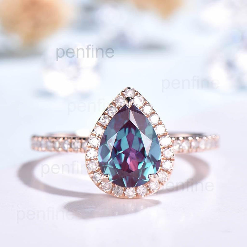 pear shaped alexandrite engagemenrt ring
