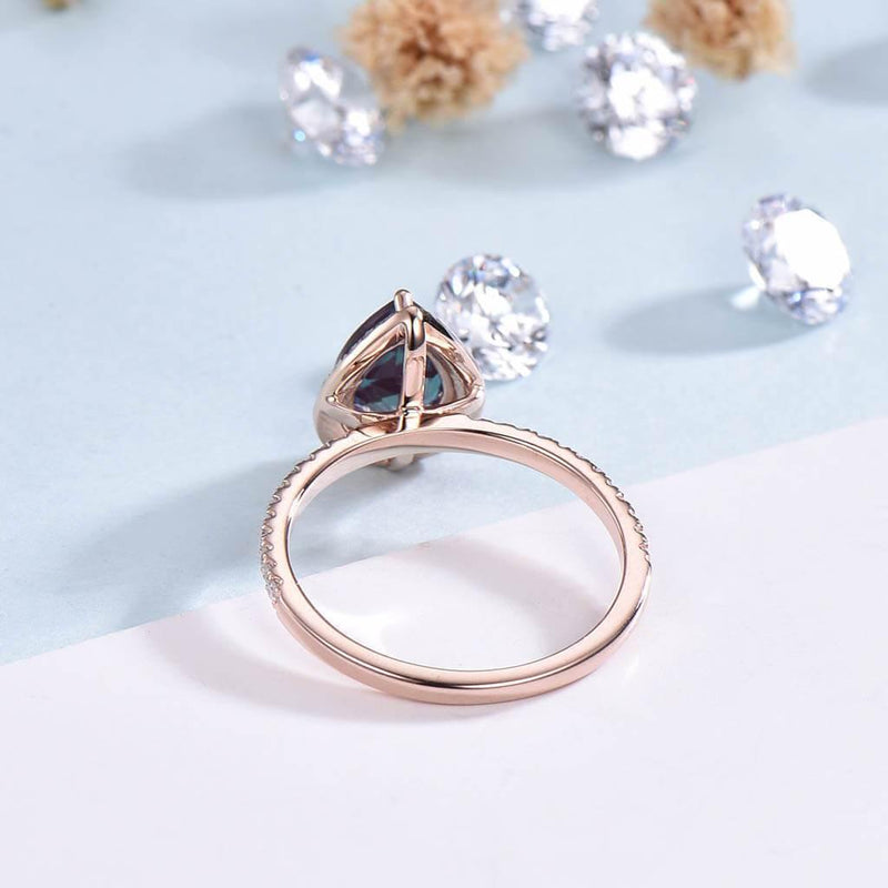 pear shaped alexadnrite engagemenrt ring back