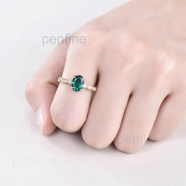 Milgrain Lab Emerald Joelle Diamond Engagement Ring - PENFINE