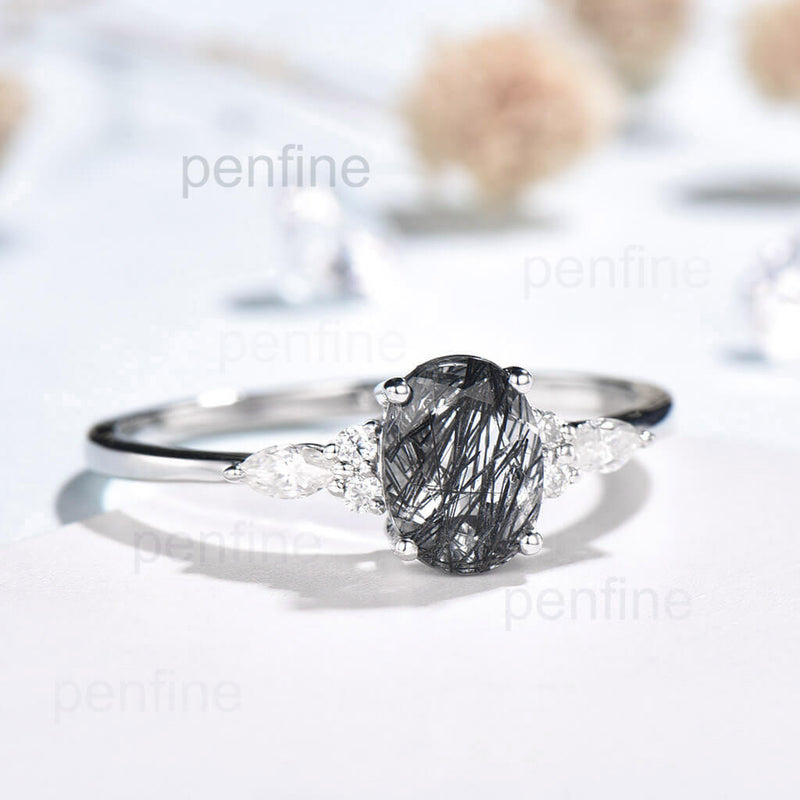 Oval Black Rutilated Quartz engagement  ring