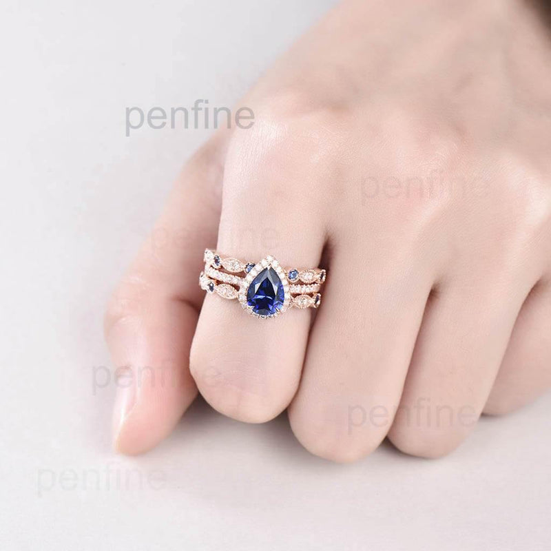 Pear Shaped Sapphire Wavely Wedding Set Rose Gold 3pcs - PENFINE