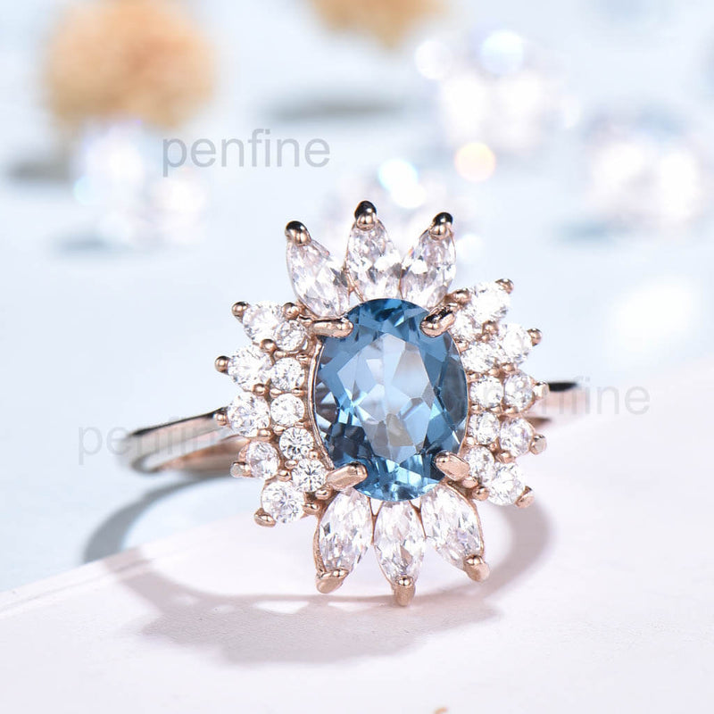 Vintage Cluster London Blue Topaz Moissanite Engagement Ring - PENFINE