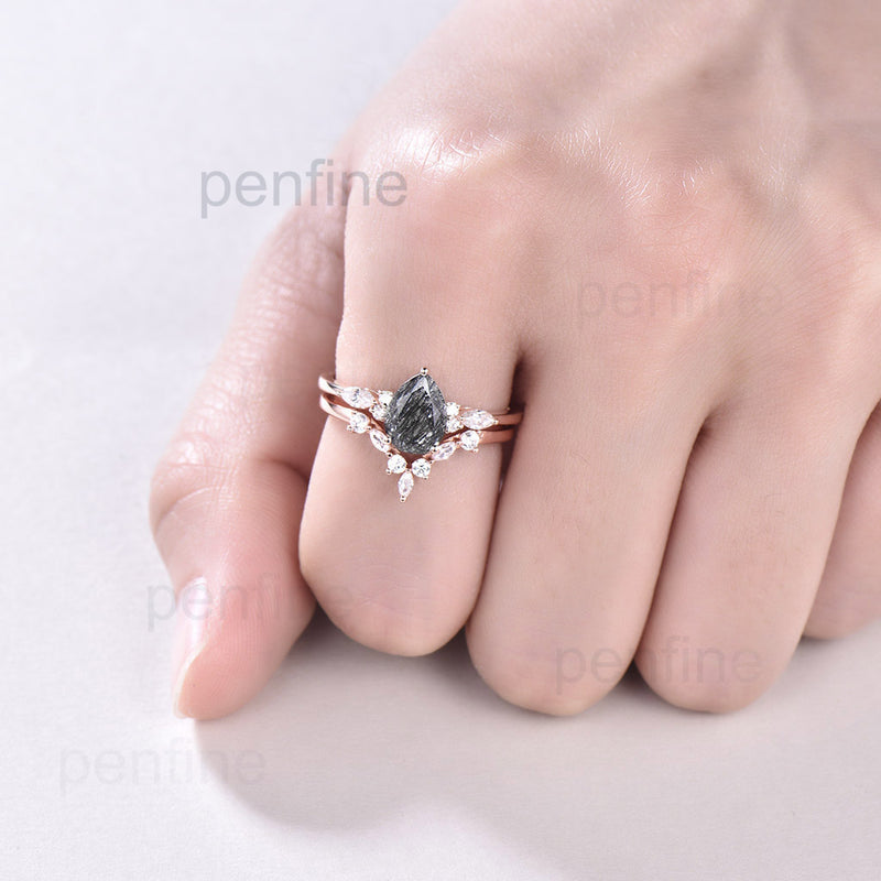 Black Rutilated Quartz engagement ring pear shaped
