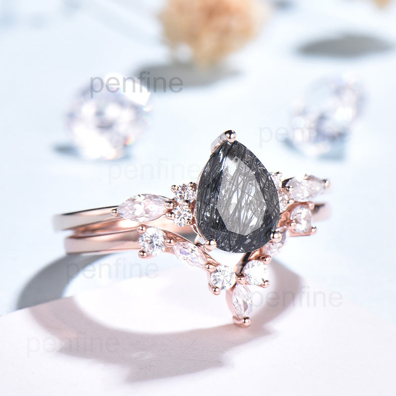 Black Rutilated Quartz wedding ring set