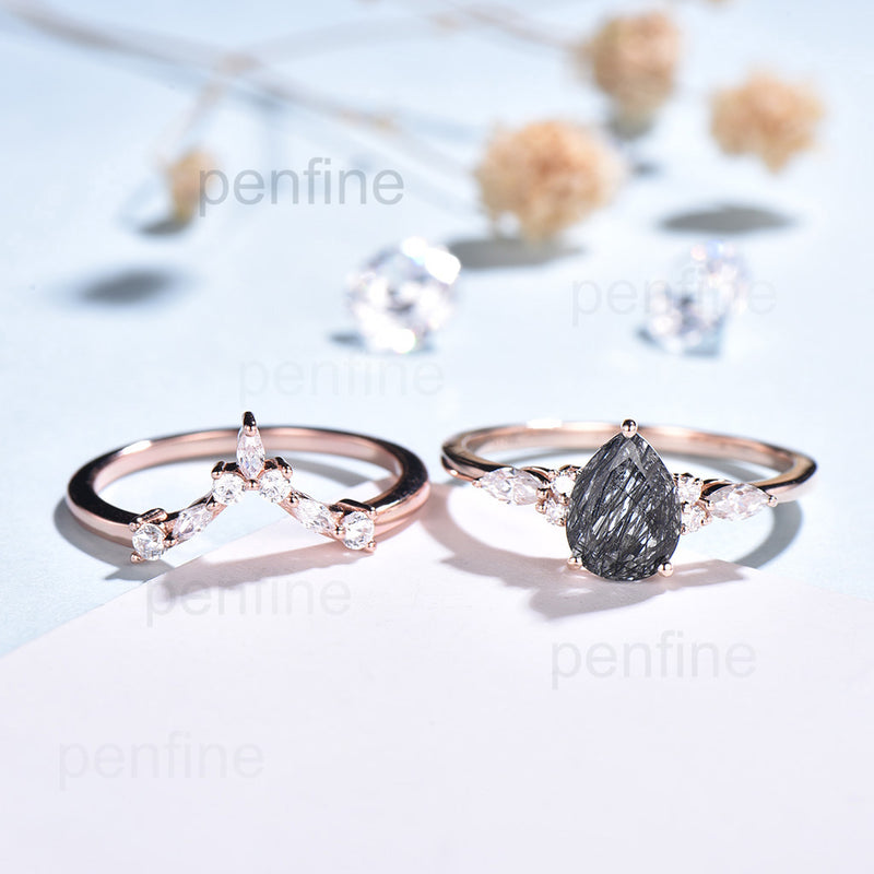black engagement ring set