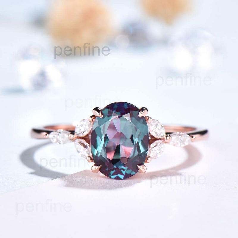 Oval Cut Vintage Alexandrite Engagement Ring