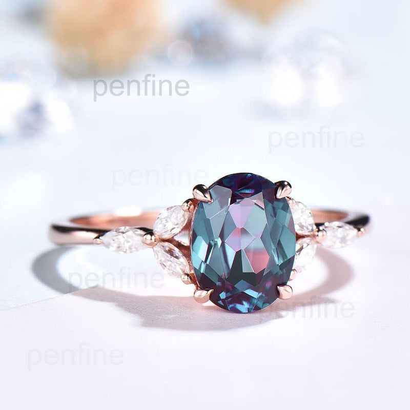 Oval Cut Vintage Alexandrite Nadia Engagement Ring rose gold