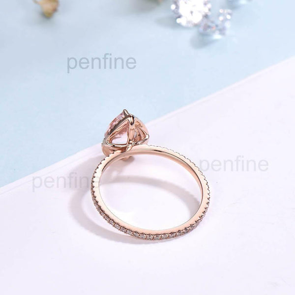 Clsssic Pear Shaped Morganite Diamond Engagement Ring Rose Gold - PENFINE