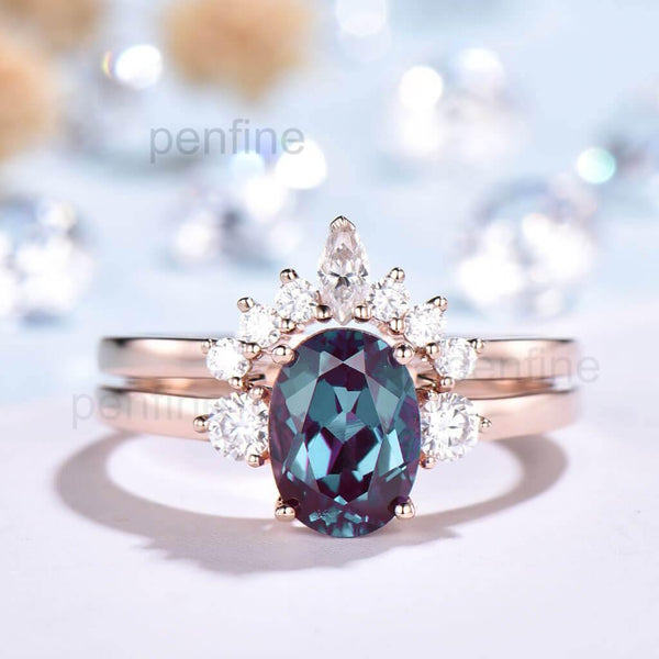Three Stone Selene Alexandrite Bridal Set Curved Moissanite Band - PENFINE