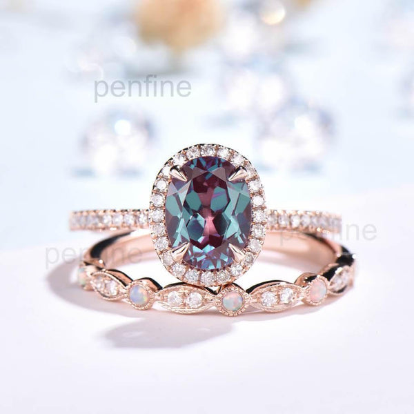 Oval Alexandrite Engagement Ring With Opal Band