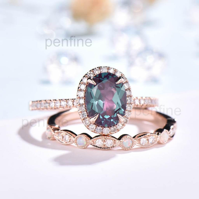 Oval Alexandrite Engagement Ring Set