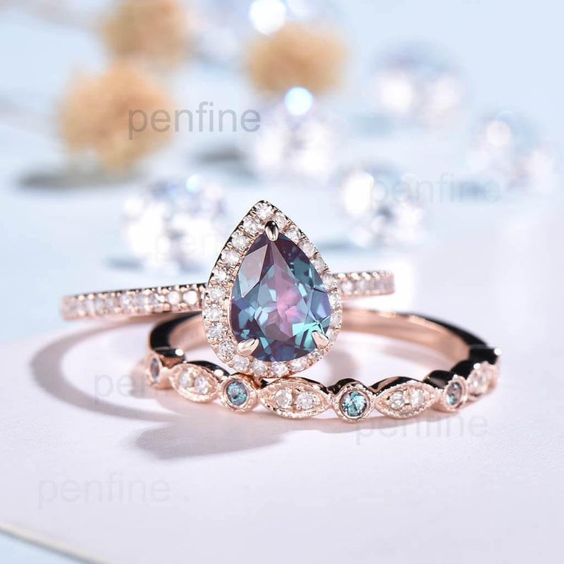 alexandrite engagement ring set pear shaped