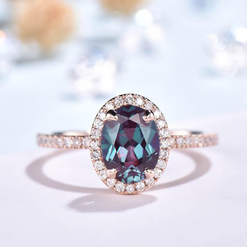Emerald/Alexandrite/Peridot Engagement Ring   Waverly Diamond Halo Rose Gold - PENFINE