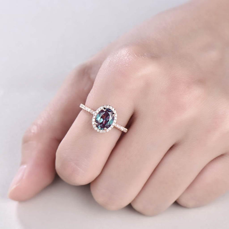 Vintage alexandrite engagement ring rose gold