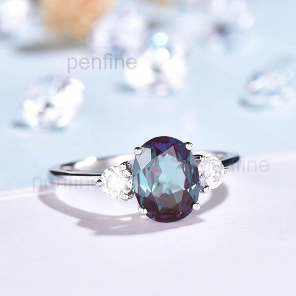 Three Stone Selene Alexandrite Moissanite Engagement Ring - PENFINE