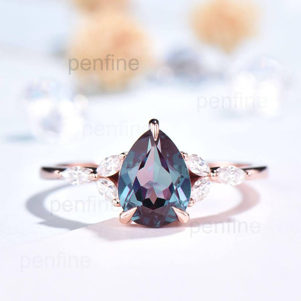 Vintage pear shaped alexandrite engagement ring