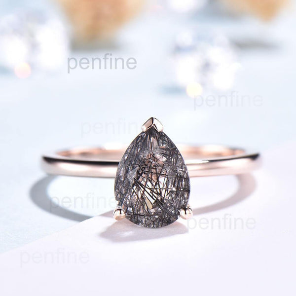 Black Rutilated Quartz engagement ring