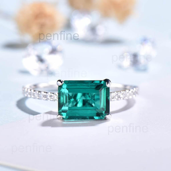 East To West Emerald Diamond Engagement Ring