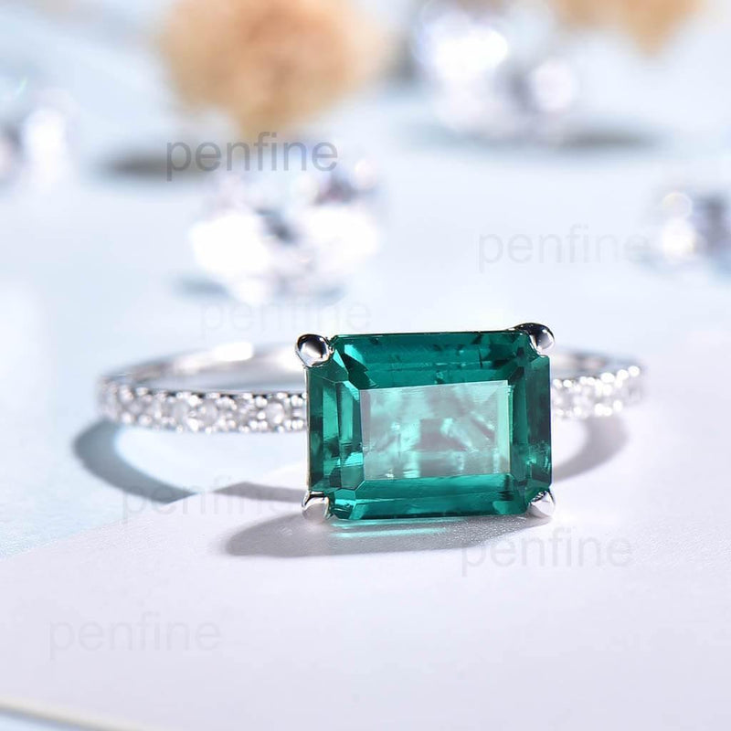 East To West Emerald Cut Unique Emerald Diamond Engagement Ring