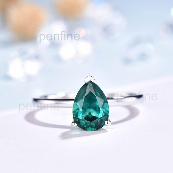 Solitaire Emerald Diamond Engagement Ring Simple Comfort Fit Ring - PENFINE