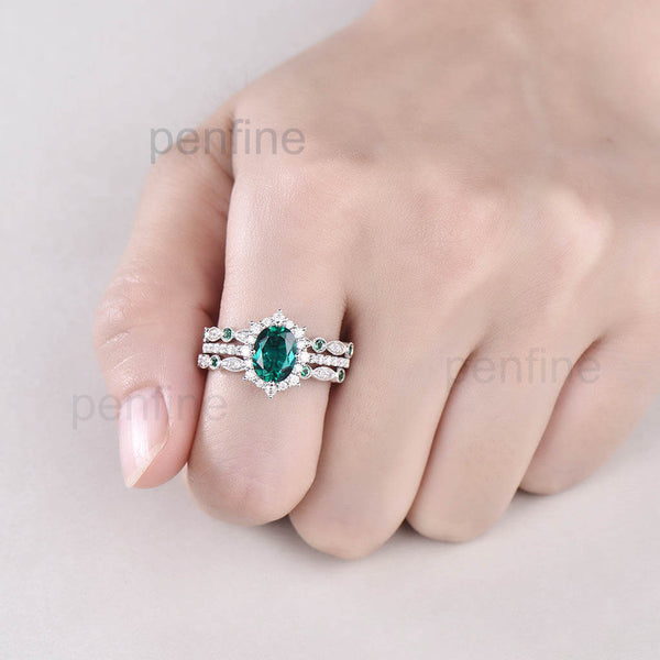 Vintage Emerald Diamond Halo Engagement Ring Set Emerald Band 3pcs - PENFINE